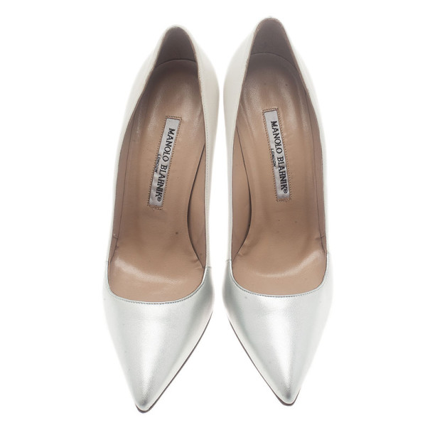Manolo Blahnik Two Tone Pointed Toe Pumps Size 37