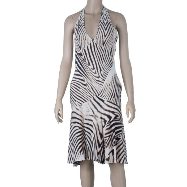 Roberto Cavalli Halterneck Animal Print Dress M