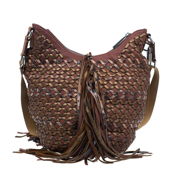 Marc Jacobs Brown Woven Leather Boho Hobo