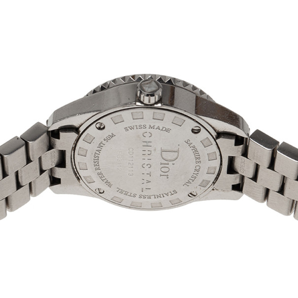 Dior White Stainless Steel Christal Women's Wristwatch 27MM