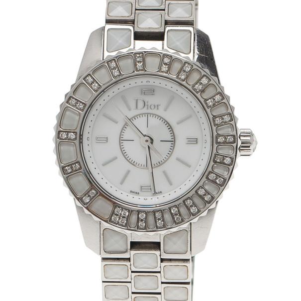 Dior White Stainless Steel Christal Women's Wristwatch 27MM