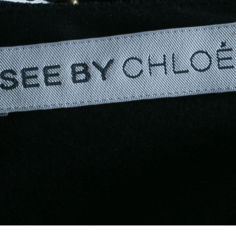 See by Chloe Black Velvet Jumpsuit S