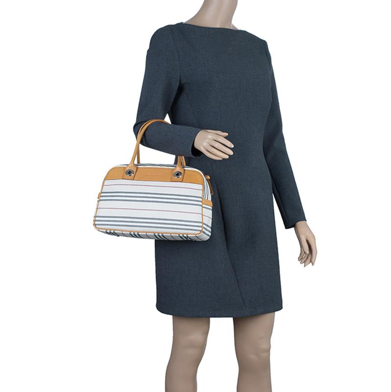 Burberry Horizontal Check Stripe Check Women Bowling Bag