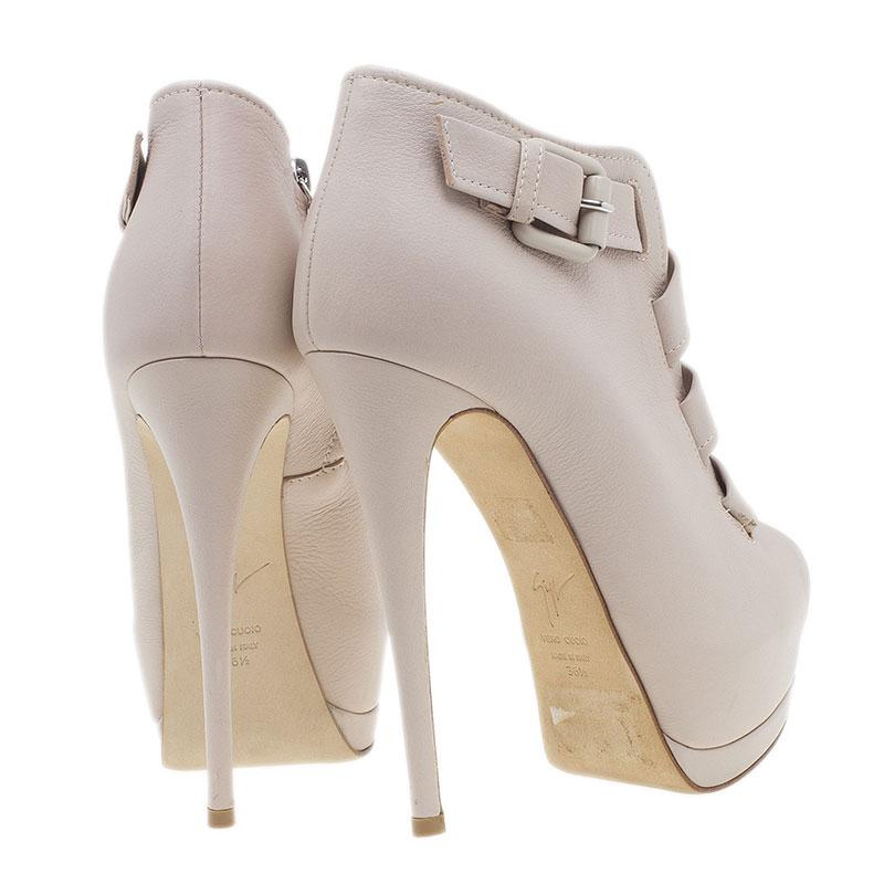 Giuseppe Zanotti Beige Leather Peep-Toe Ankle Boots Size 36.5