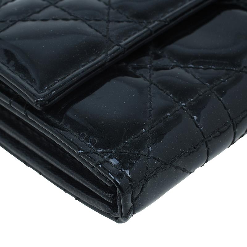 Dior Black Lady Dior Patent Cannage Rendez-Vous Chain Wallet