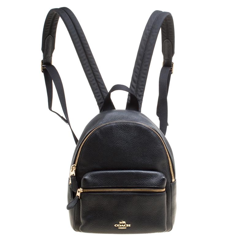 Купить со скидкой Coach Black Leather Mini Charlie Backpack