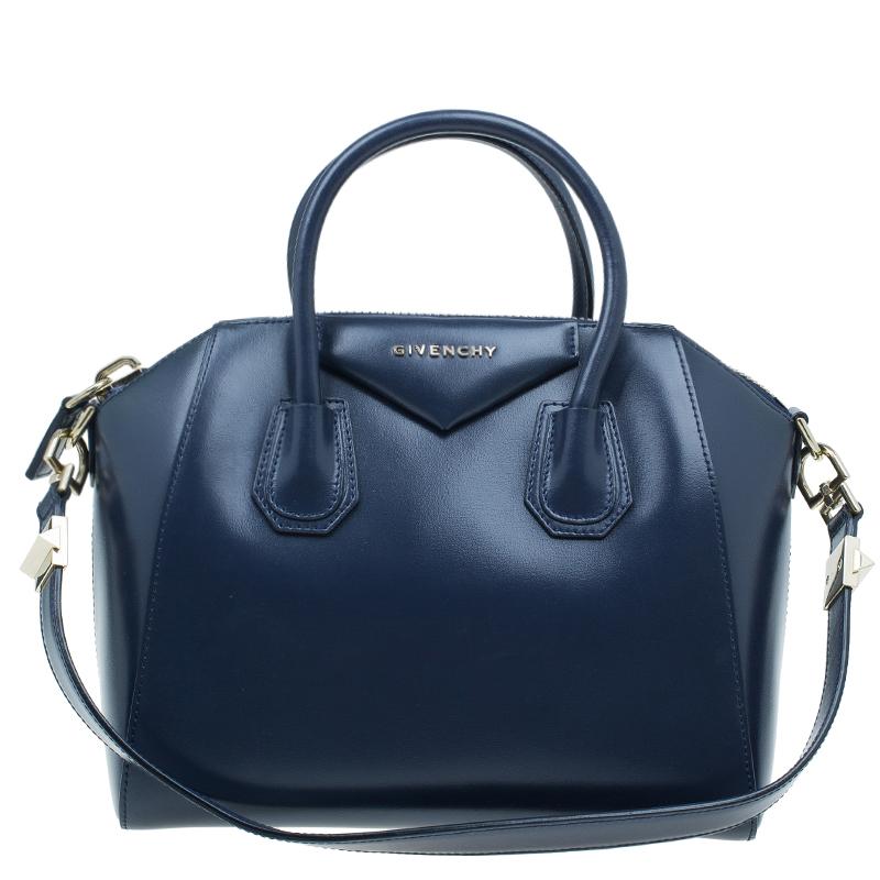 Givenchy Navy Blue Leather Small Antigona Satchel Bag