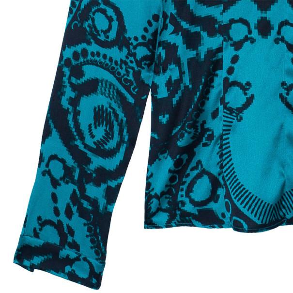 Versace Green Pixel Printed Silk Shirt L