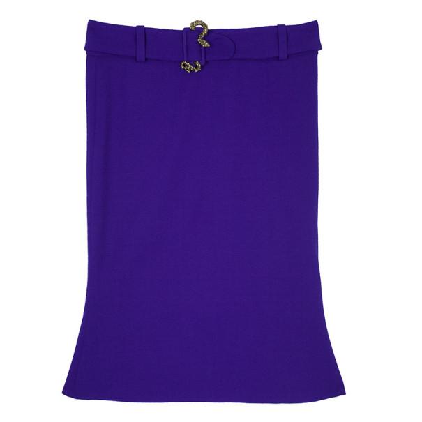 Roberto Cavalli Purple Snake Belt Skirt M
