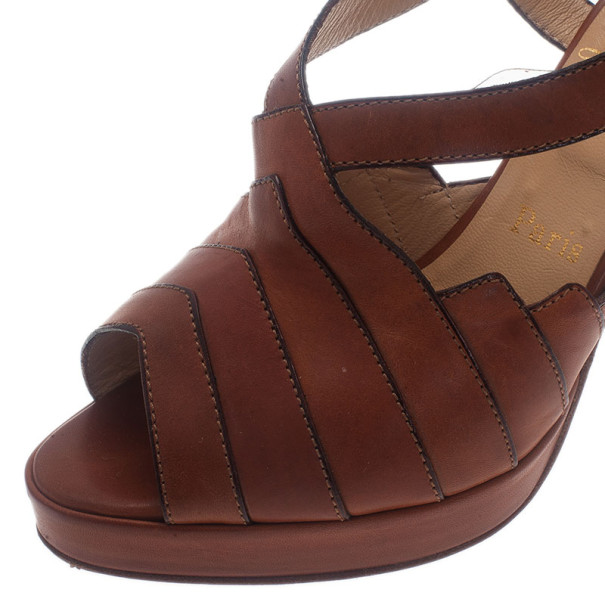 Christian Louboutin Brown Leather City Girl Platform Sandals Size 39