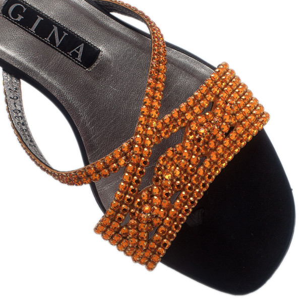 Gina Bronze Crystal Black Flat Slides Size 40