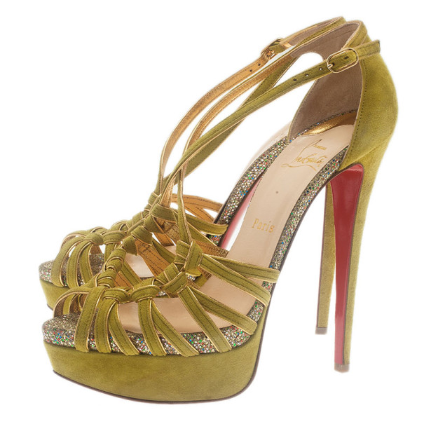 Christian Louboutin Green Suede 8 Mignons Platform Sandals Size 39