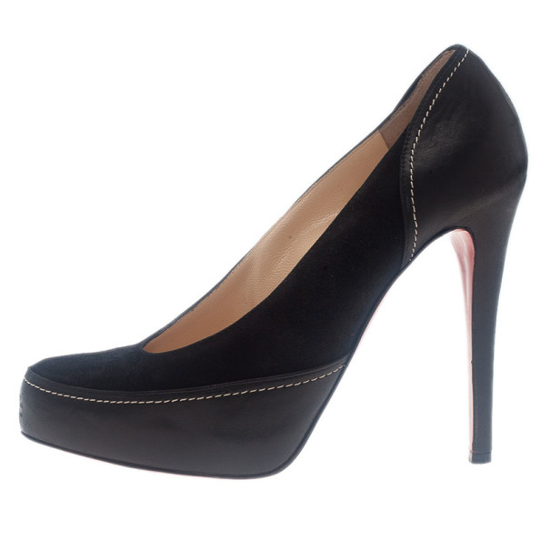 Christian Louboutin Black Suede and Leather Defil Pumps Size 39.5