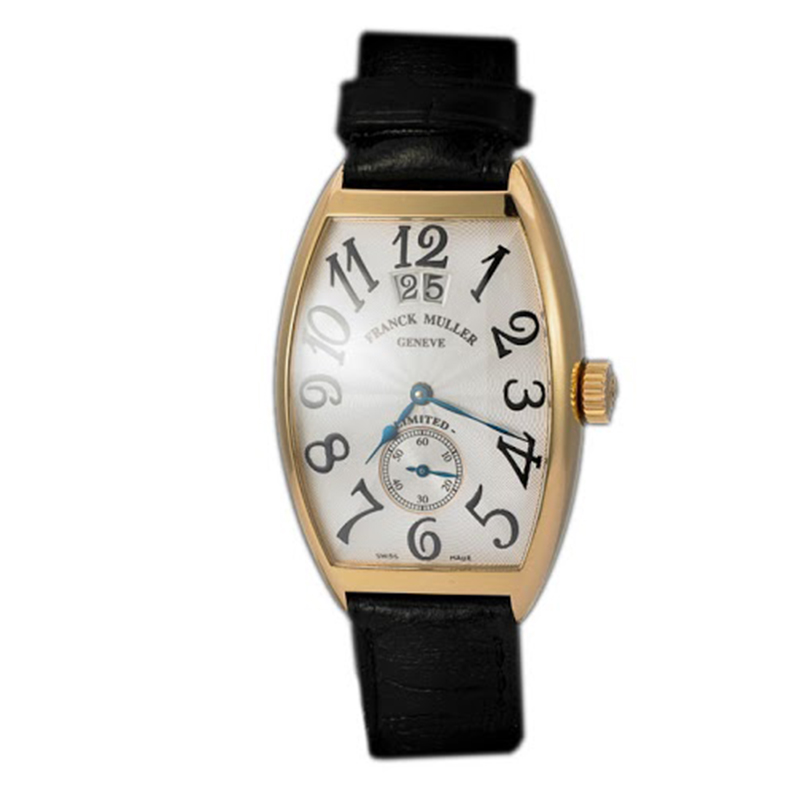 Franck Muller Silver 18K Rose Gold Cintree Curvex Grand Guichet Men's Wristwatch 43MM
