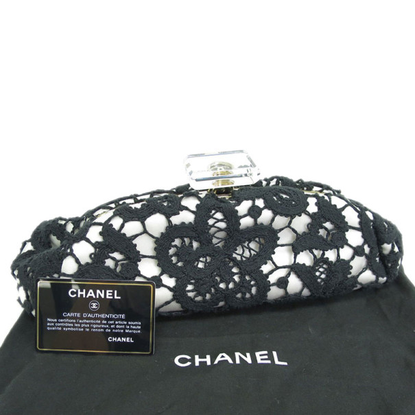 Chanel White and Black Lace Over Satin Clutch