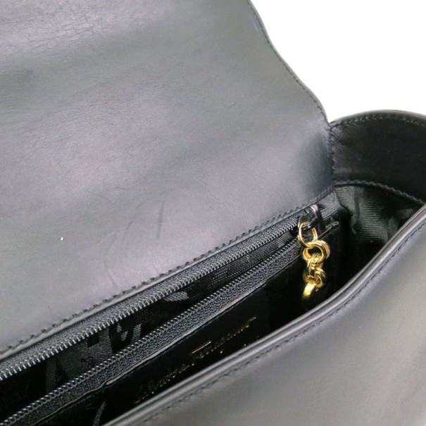 Salvatore Ferragamo Black Leather Gancini Shoulder Bag