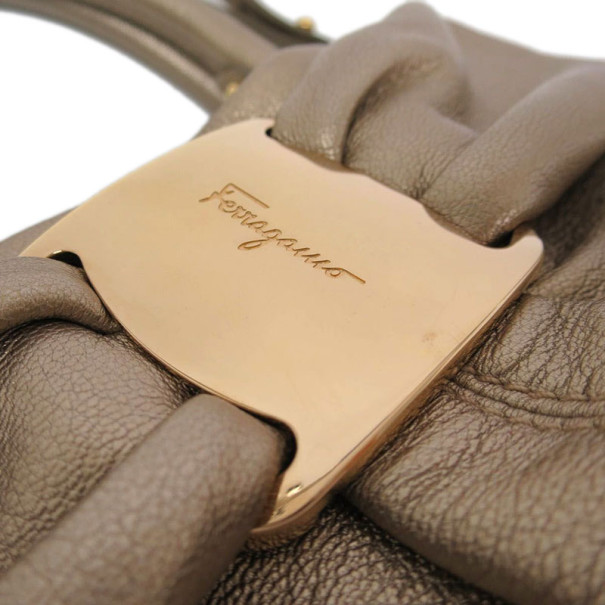 Salvatore Ferragamo Gold Leather Vara Bow Tote