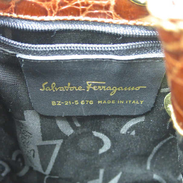 Salvatore Ferragamo Brown Embossed Leather Vara Backpack