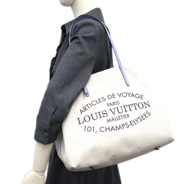 Louis Vuitton Lilac and Green Canvas Cabas Tote MM