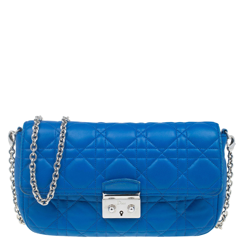 Dior Blue Cannage Quilted Lambskin Miss Dior Promenade ...