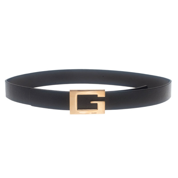 Gucci Black Leather G Buckle Belt 75CM