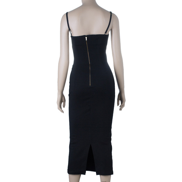Dolce and Gabbana Black Fitted Midi Dress S