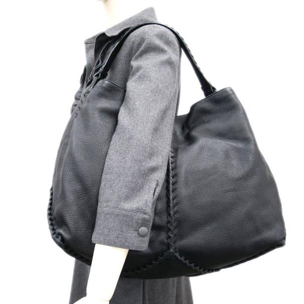 Bottega Veneta Black Leather Cervo Hobo