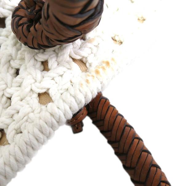 Ralph Lauren White Woven Cotton Tote