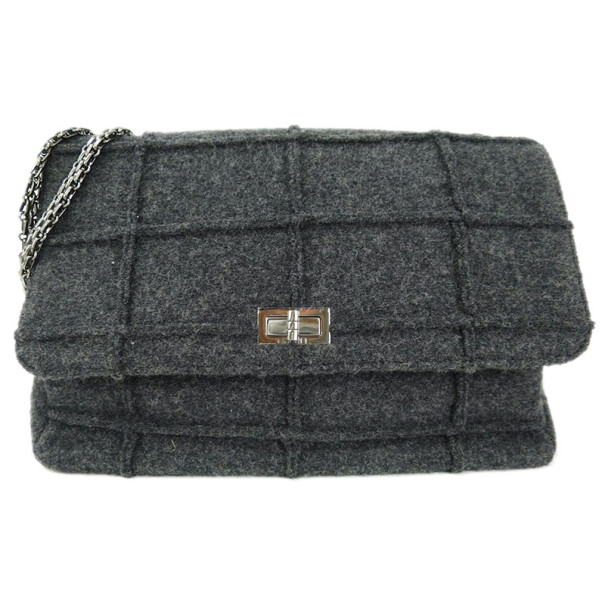 Chanel Grey Wool Chocolate Bar Reissue 2.55 Shoulder Bag
