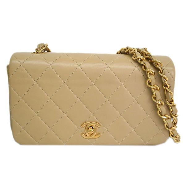 Chanel Beige Lambskin Single Flap Shoulder Bag