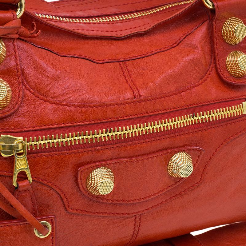 Balenciaga Red Leather Giant Part Time Shoulder Bag