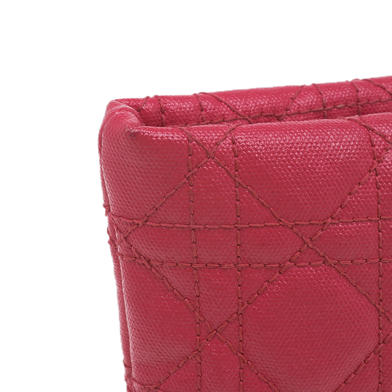Dior Red Coated Canvas Quilted Cannage Panarea Clutch