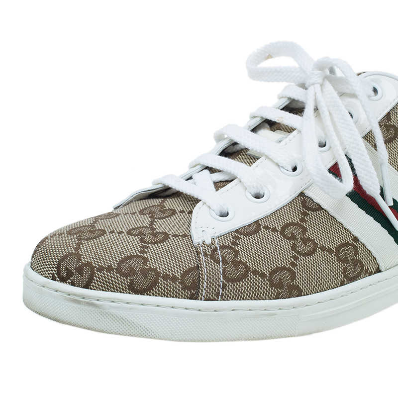 Gucci Guccissima Canvas Web Detail Sneakers Size 38.5