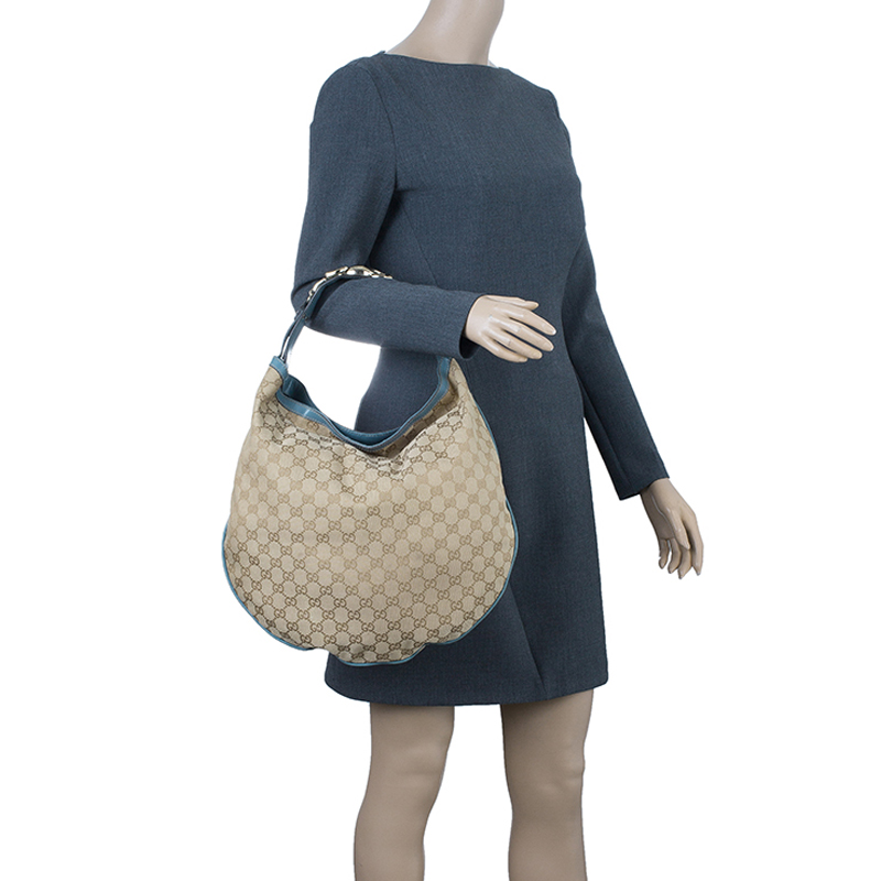 Gucci Beige Canvas GG Horsebit Catena Hobo Bag