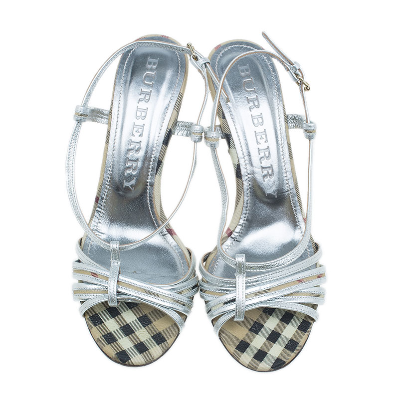 Burberry Silver Leather Check Detail Strappy Sandals Size 39