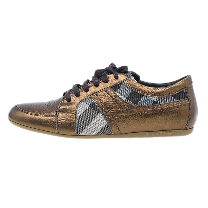 Burberry Metallic Leather and Novacheck Canvas Sneakers Size 37