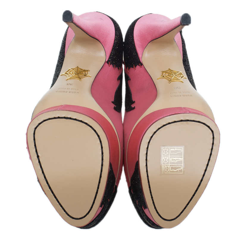 Charlotte Olympia Pink Satin She Wolf Platform Pumps Size 38