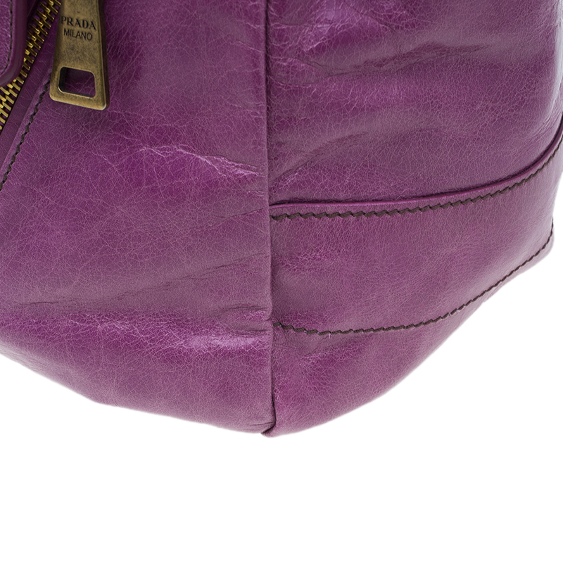 Prada Purple Vitello Shine Leather Chain Tote Bag