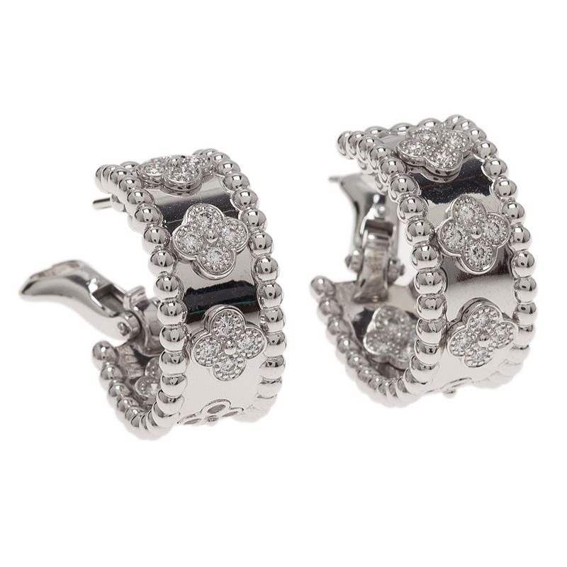 Van Cleef & Arpels Perlée Clover Diamonds White Gold Hoop Earrings