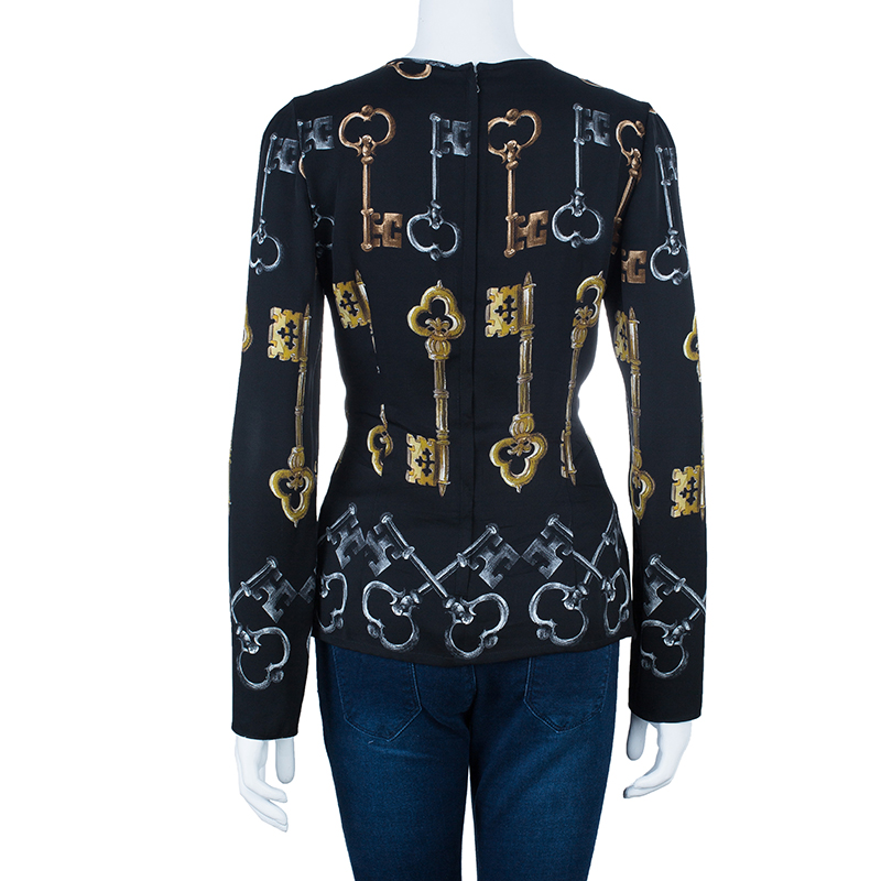 Dolce and Gabbana Black Key Silk Top M