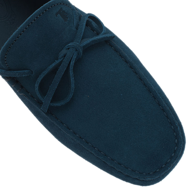 Tod's Blue Suede Bow Loafers Size 42