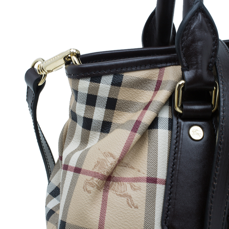 Burberry Brown Haymarket Medium Landscape Heathcliff Tote
