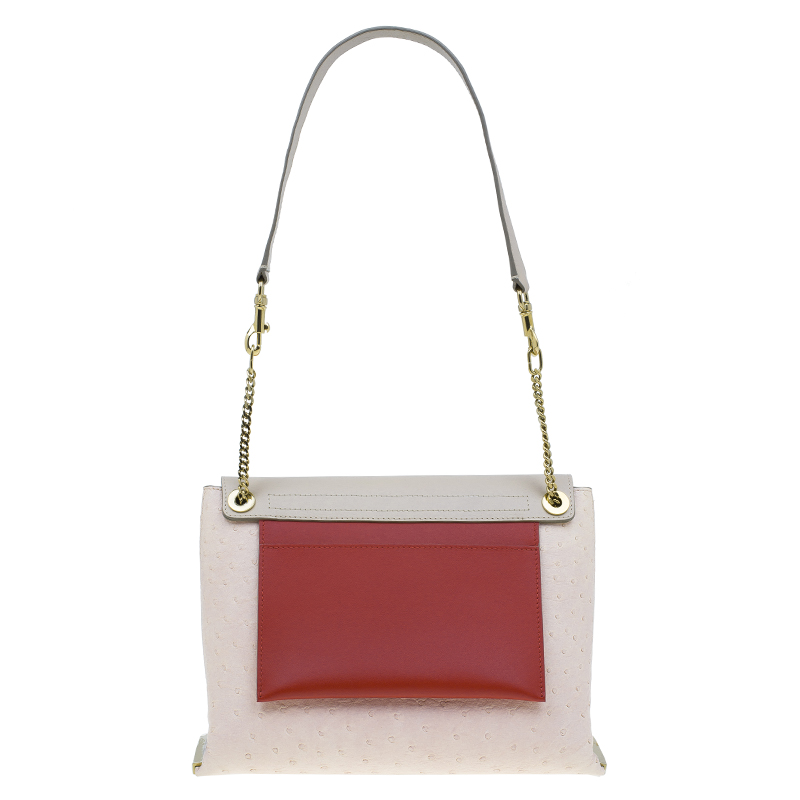Chloe Pink Tri Color Ostrich Leather Medium Clare Shoulder Bag