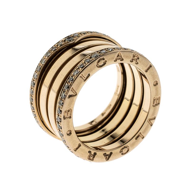 Купить со скидкой Bvlgari B Zero1 Diamond 18k Rose Gold 4 Band Ring Size 51