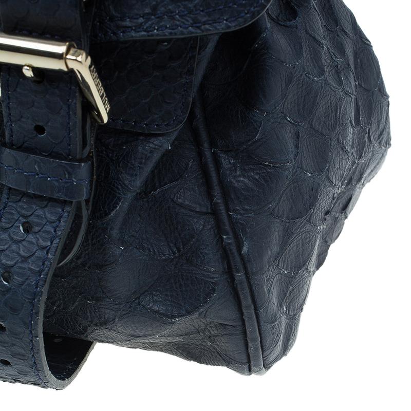 Mulberry Blue Pebbled Snake Print Alexa Shoulder Bag