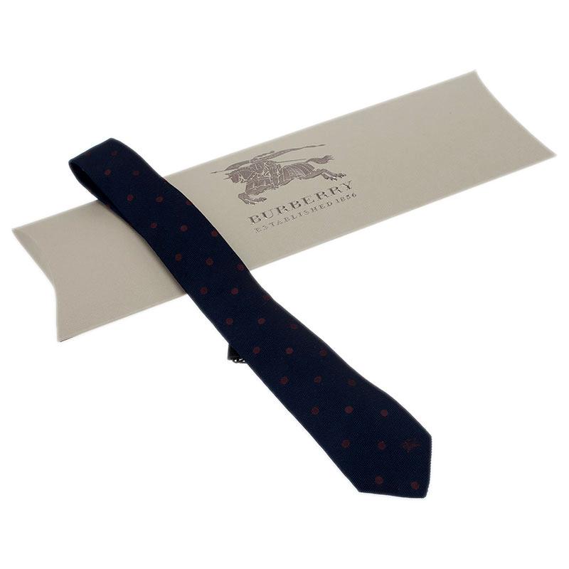 Burberry Navy Blue Polka Dot Silk Tie
