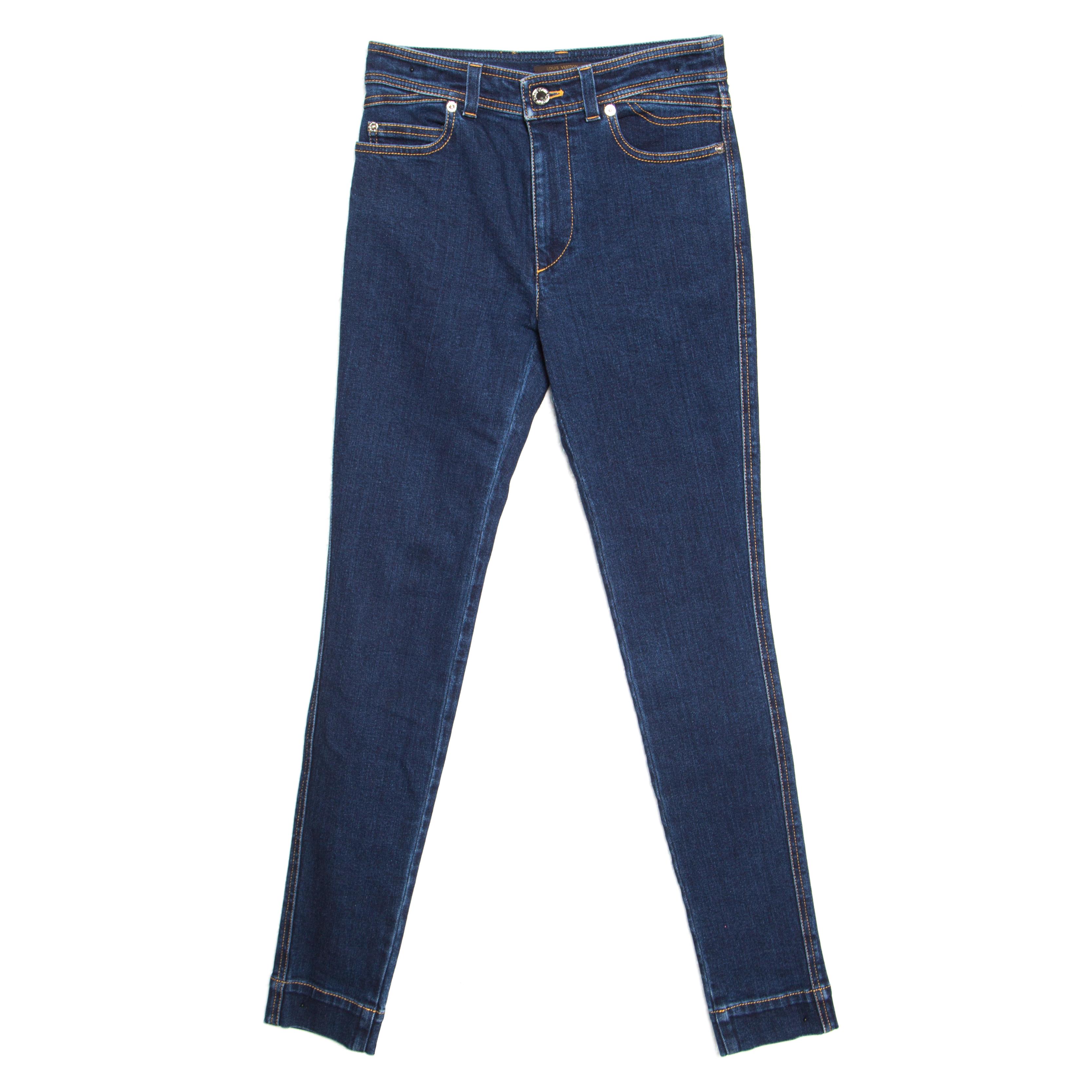 Купить со скидкой Louis Vuitton Indigo Dark Wash Denim Skinny Jeans S