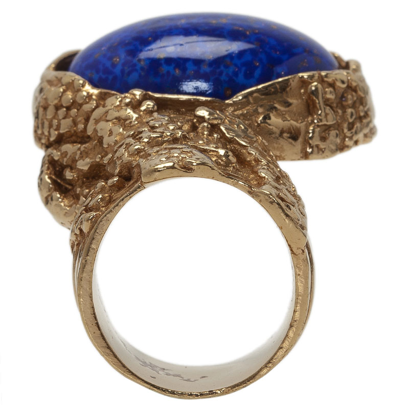 Saint Laurent Paris Arty Blue Gold Tone Ring Size 52