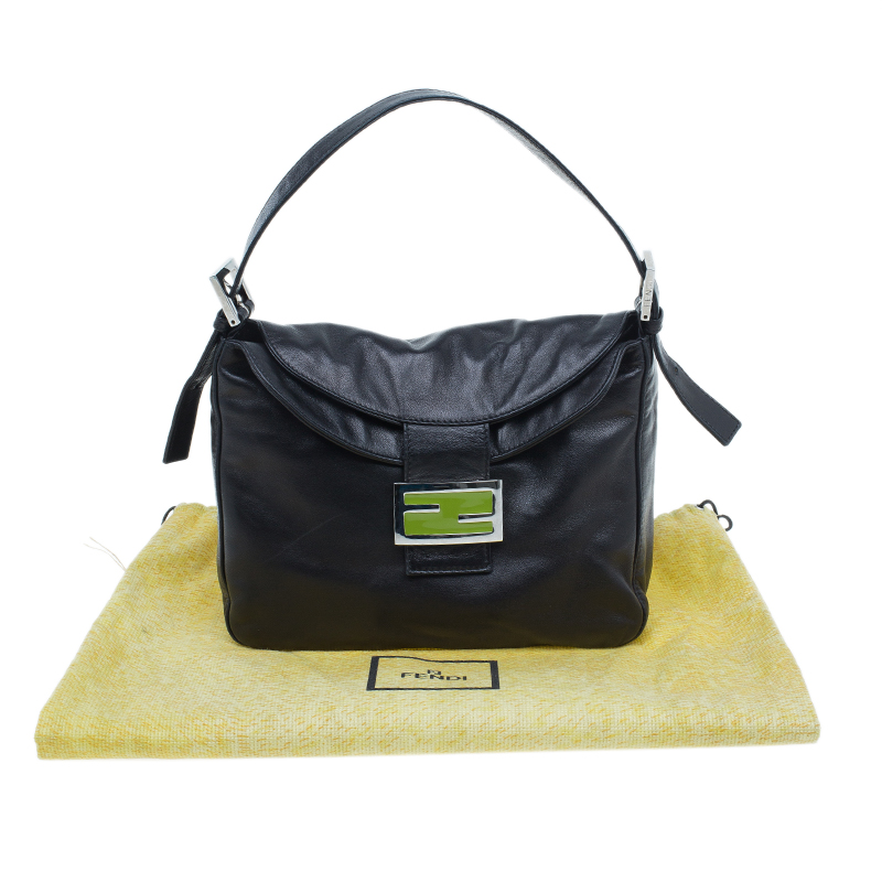 Fendi Black Leather and Green Buckle Small Shoulder bag