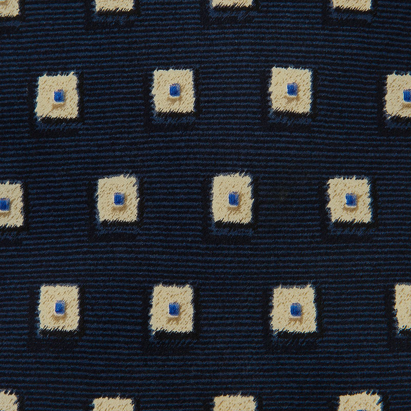 Valentino Navy Blue Silk Square Pattern Tie